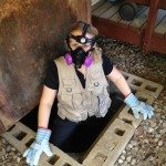 Nicole in a crawlspace